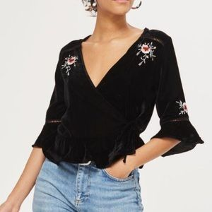NWT Topshop Floral Embroidered Velvet Wrap Top